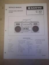 Sanyo Service Manual~C3D Boombox Radio Cassette Tape Player~Original~Repair