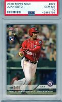 "2018 Topps Now Rookie #822 ""Juan Soto"" RC @@LOOK@@ PSA 10 RC ""On Fire"" xy POP 35"