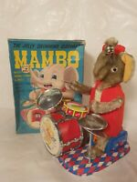 Tin Toy 1950's Alps Japan bat. Op. MAMBO THE ELEPHANT DRUMMER mint in orig. box!