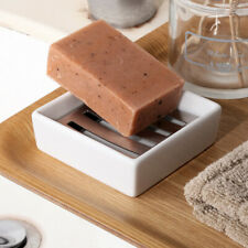 Ceramic Soap Dish Stainless Steel Soap Holder Double Layer Draining Soap Box
