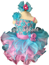 Infant/toddler/baby Blue Pink Sequins Lace Bow Pageant Glitz Dress G135Bl