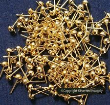 144 Pcs dangle post earring findings no clutches gold plated earrings fpe120