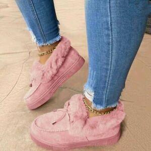 2021 New Winter Bowknot Women's Shoes Warm Shoes Flat Bottom Large Size Fashion