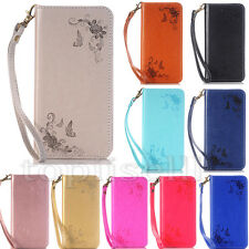 Magnetic Embossed Flip Patterned Strap PU Leather Card Slot Stand Case Lot Cover