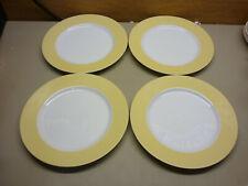 "Set of 4 La Ronde Yellow Inglaze Fitz & Floyd 1981 Dinner Plates 10-1/4"""