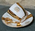 Porcelain  Czechoslovakia  White & Gold  Cup & Saucer