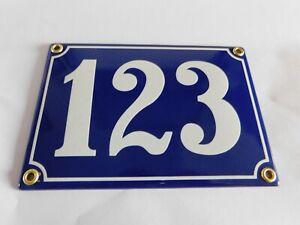 Antique French Blue  Genuine Enamel Porcelain House Door Number Sign / Plate 123