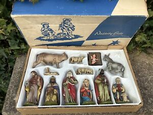 ORIGINAL VINTAGE KRIPPENFIGUREN GERMAN PLASTIC NATIVITY SET CHRISTMAS DECORATION