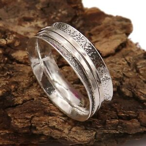 Spinner Ring Solid 925 Sterling Silver Band Meditation Ring All Sizes GESR03