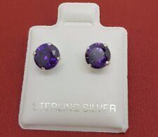 Sterling Silver CZ Amethyst 6mm Stud Earrings 925 Purple round Cubic Zirconia