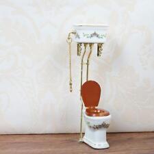 1:12 Dollhouse Miniature Furniture Bathroom Toilet White U Closes Porcelain H9S4