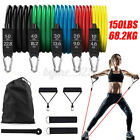 11 PCS Resistance Band Set Yoga Pilates Abs Exercise Fitness Tube Workout Ban