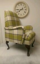 Shabby Chic Lime Green Alderney Tartan Small Bedroom Armchair