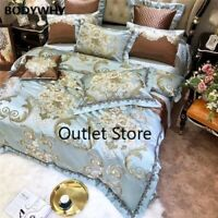 Luxury Jacquard Floral Bedding Set Satin Like Silk Cotton Duvet Cover Bedspread