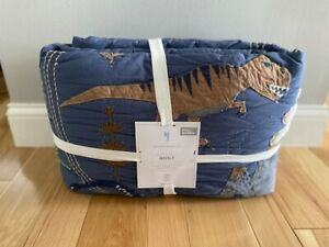 Pottery Barn Kids JURASSIC Quilt Full / Queen Blue Gray RARE Dinosaurs NEW
