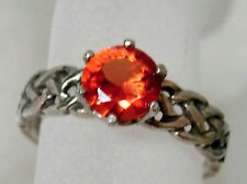 1.50ct orange padparadscha sapphire antique 925 sterling silver ring size 4.5