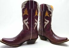 WOMENS FRYE GENUINE LIZARD RED FANCY INLAY COWBOY WESTERN BOOTS SZ 9.5~1/2 B