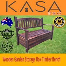 Wooden Garden Storage Box Timber Bench Chair Outdoor Furniture 2 Seat Chest