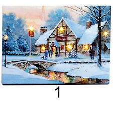 Christmas Scene 40cm Free Standing LED Light up Canvas - Design 1