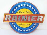 Vintage Seattle Rainier Beer Fresh Beer Since 1878 14 x 11 in. Cardboard Sign