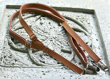 Faux Leather Adjustable Suspenders Tan Rust Brown Wedding man adult
