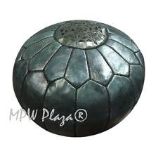 MPW Plaza Pouf, Onyx Black, Moroccan Leather Ottoman (Stuffed)