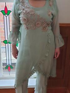Designer Chiffon Hand Embroidery Suit Stitched Lined Trouser Chiffon Dupatta