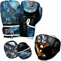VELO Junior Boxing Gloves Focus Pads Kids Head Guards Hook & Jab Mitts MMA