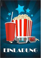 12 Einladungskarten zur Kinovorführung am Kindergeburtstag - Kino Popcorn