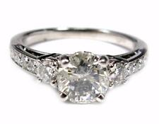 Estate Womens Diamond Engagement Ring 1.55CTW round cut accent 18K White Gold
