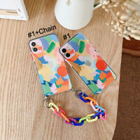 Cute Color Graffiti Chain Phone Case Cover For Apple iPhon12 Pro Max XR 11 7 8+