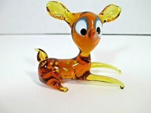 Vintage Murano Blown Glass Laying Deer Figurine Brown Yellow Dots Large Eyes EUC