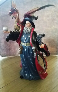 WIZARD With DRAGON, Magician Collectible Sorcerer Fantasy Figurine Statue,MERLIN