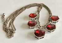 "Vintage Large Dangle Red Ruby Rhinestone Silver Tone Chains Necklace 17"" + 3"""