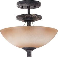 Ledgestone And Toffee Crunch Glass Semi Flush Ceiling 3 Light Fixture