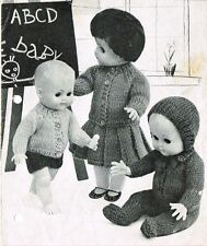 "Dolls clothes knitting pattern.10-12-14-16"" doll.  Laminated copy. (V Doll 63)"