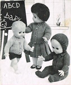 "Dolls clothes knitting pattern.10-12-14-16"" doll.  Laminated copy. (V Doll 63)"