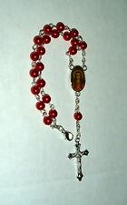 "Saint Philomena Bracelet 6 MM Red Bead 7"" Rosary NEW Virgin FREE Shipping"
