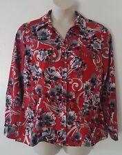 Laura Scott Red Black Silver Floral Print Long Sleeve Button Down Shirt Size XL