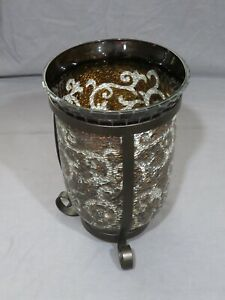 PartyLite Amaretto Swirl Pillar Candle Holder Mosaic Crushed Glass Metal Stand