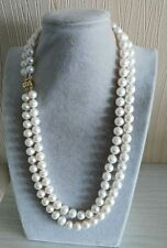 Elegant two rows 9-10mm round south seas white pearl necklace 20-22inch 14kt