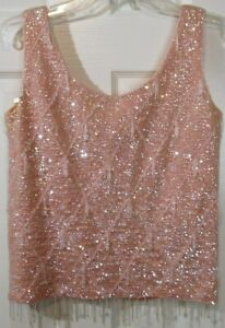 Vintage Women's Pink Sequined & Beaded 100% Wool Lined Sleeveless Top, M