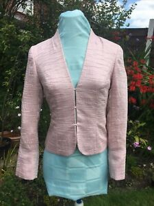 PHASE EIGHT Pink Jacket Textured Satin Wedding Guest/ Occasions Bolero UK Size 8