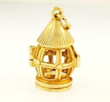 9Carat Yellow Gold Solid Openable Birds Cage Charm (11x18mm)