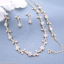 3 piece Necklace Set Bridal Wedding Bridesmaid Gift BRACELET GOLD Gp CRYSTAL #30