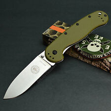 ESEE Avispa OD Green Handle Stonewashed D2 Plain Edge Framelock Knife BRK1302OD