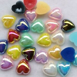 50 Heart Cabochons Flatbacks Pearl Flat Back 8mm Valentines Jewelry Supply Bulk