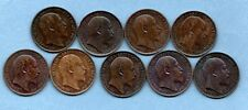 More details for 9 different king edward vii farthing coins 1902 - 1910. high grade 1/4d job lot.