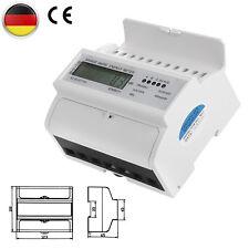 LCD Drehstromzähler geeicht für DIN Hutschiene + 3x230/400V 5(100)A Stromzähler