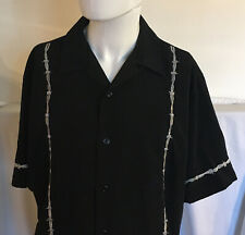 Vintage Dragonfly Black Button Up Barbed Wire Shirt Men's Size Large Embroidered